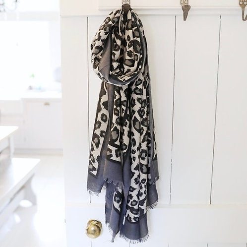 Leopard Print Scarf - Grey