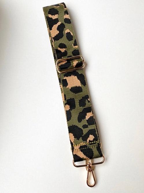 Leopard Print Bag Strap - Olive Green