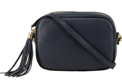 Lila Leather Cross Body Bag - Navy Blue