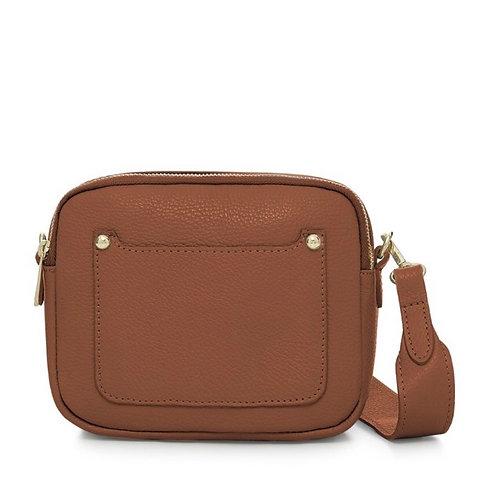 Zara Leather Crossbody Bag -  Tan