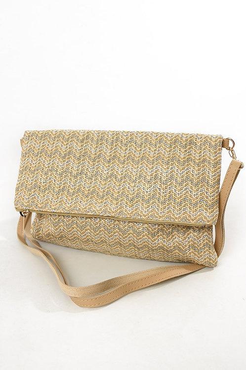 Chevron Clutch Bag - Gold/Cream