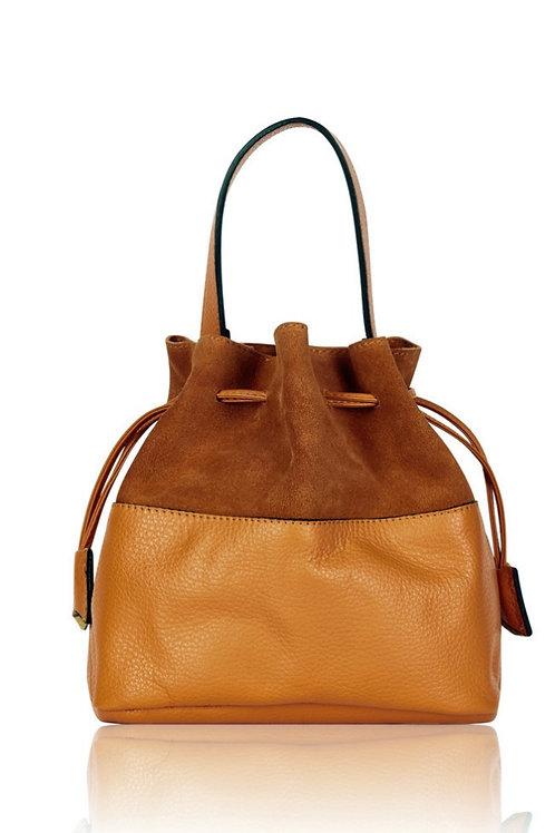 Nova Suede  Leather Bucket Bag - Tan