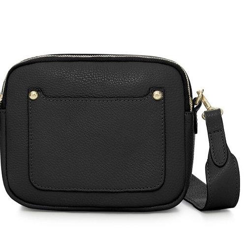 Zara Leather Crossbody Bag -  Black