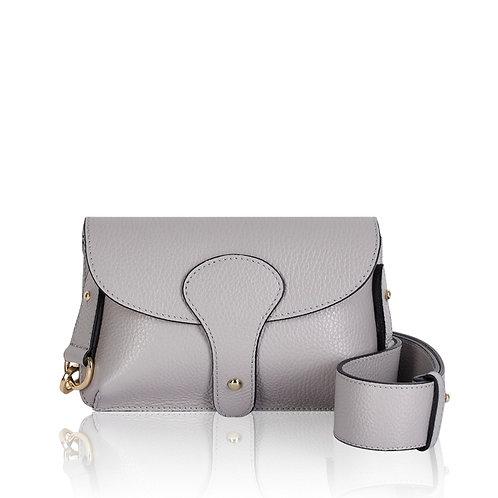 Bria Leather Clutch Bag - Light Grey