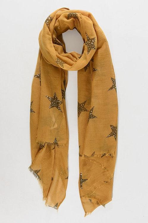 Metallic Star Scarf - Mustard Yellow