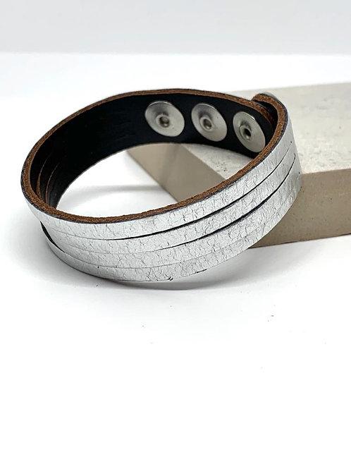 Leather Cuff -  Silver