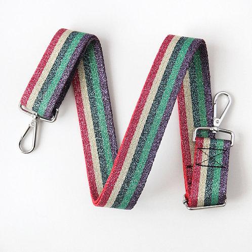 Multi Metallic Striped Bag Strap