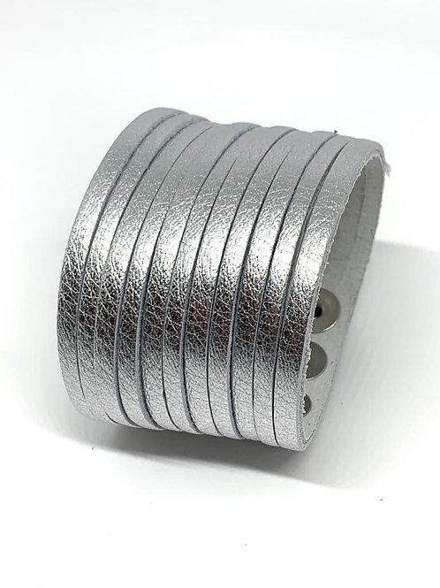 Wide Leather Cuff -  Silver