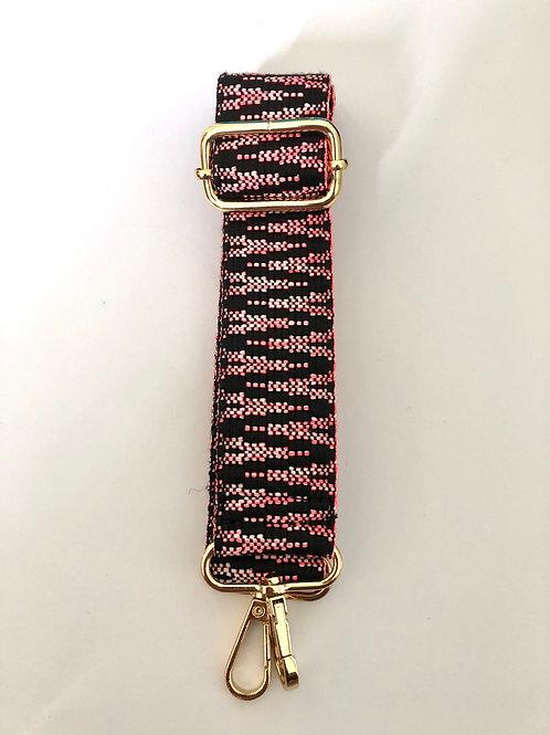 Black & Pink Chevron Bag Strap