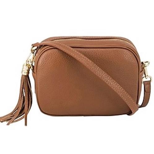 Lila Leather Cross Body Bag - Dark Tan