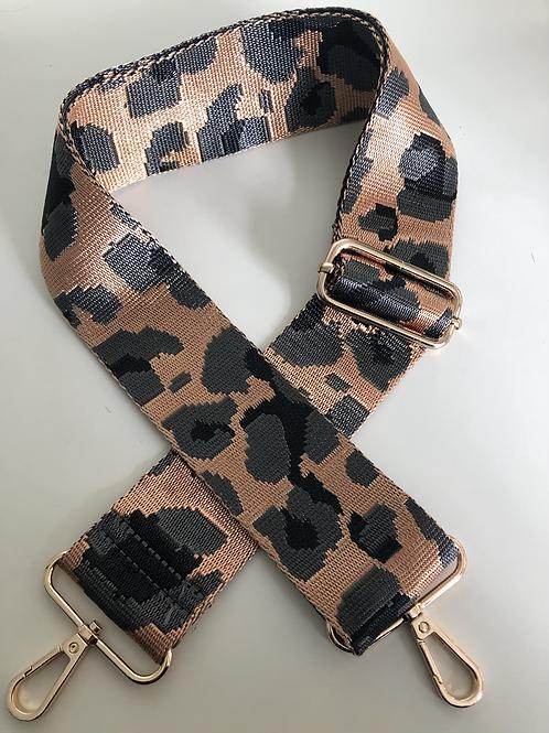 Leopard Print Bag Strap - Tan