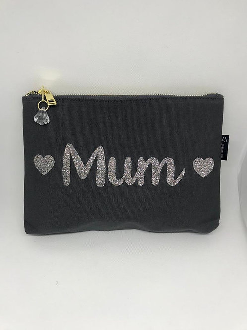 Crystal Zip Make-up Bag / Clutch - Grey Mama