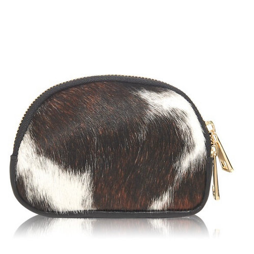 Textured Leather Coin Purse - Brown/White