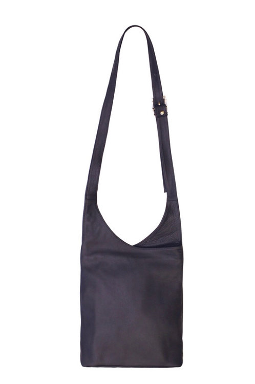 Leather Shoulder Bag -Grey