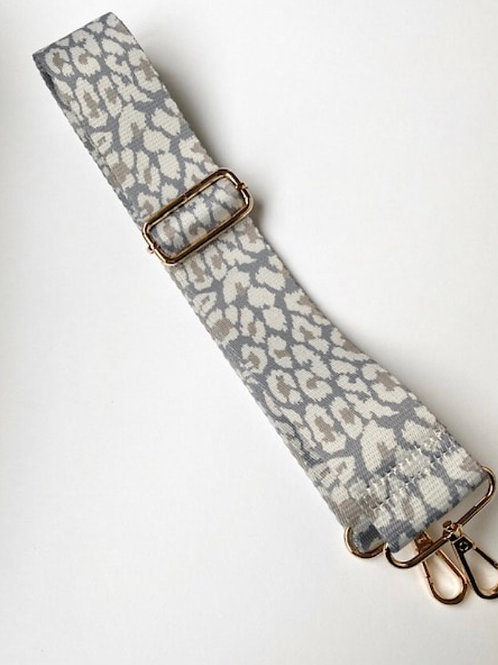 Snow Leopard Print Bag Strap - Grey