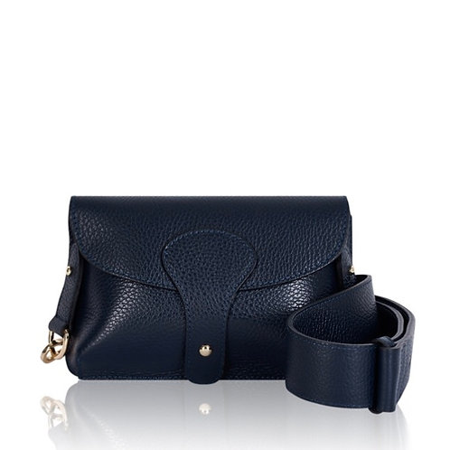 Bria Leather Clutch Bag -  Navy Blue
