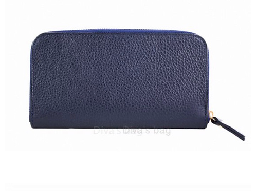 Eve Leather Wallet - Navy Blue