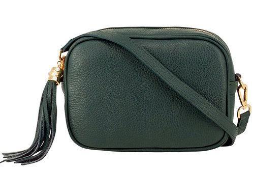 Lila Leather Cross Body Bag -  Dark Green