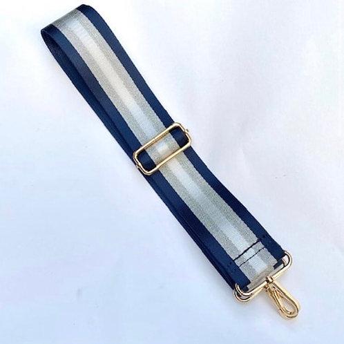 Navy Blue /Silver Stripe Bag Strap
