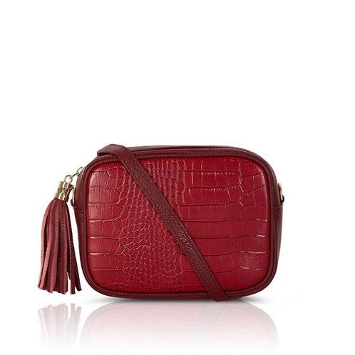 Esme Croc Leather Bag -  Dark Red