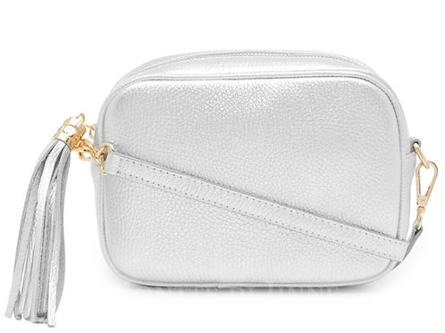 Lila Leather Cross Body Bag - Silver