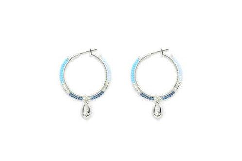 Ibiza Hoop Earrings -Silver/Blue