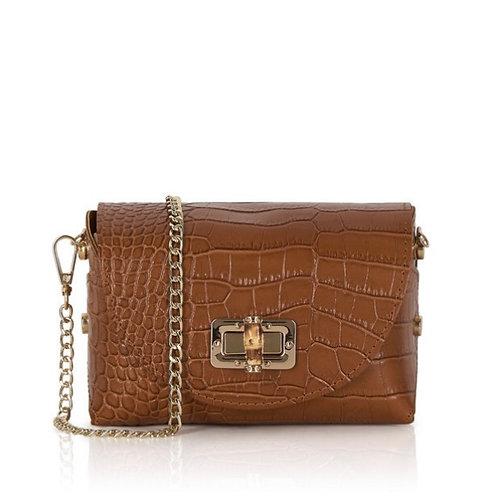 Hope Croc Leather  Bag - Tan