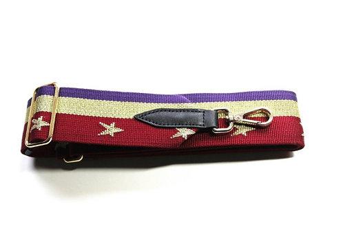 Gold Star Stripe Bag Strap - Red / Purple