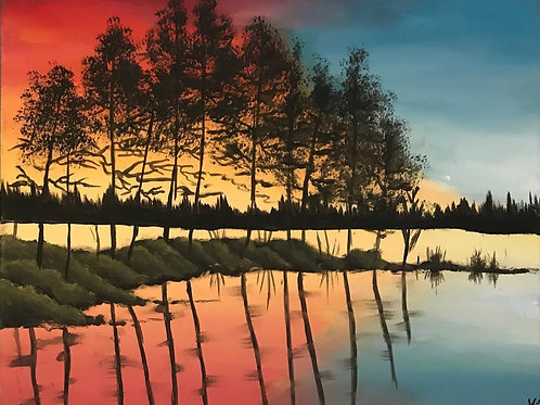 """""""Sunset silhouette"""" acrylic landscape paintings"""