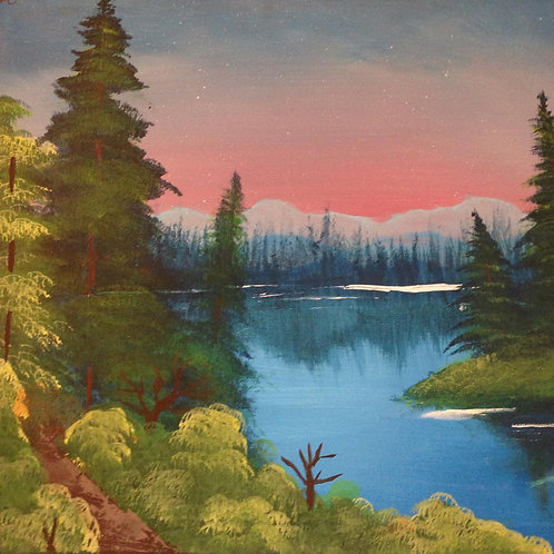 """Island in the wilderness"" acrylic landscape painting"