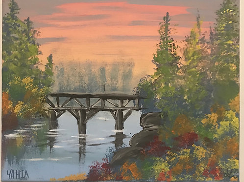"""The footbridge"" acrylic landscape painting"