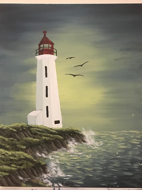 """""""peggy's cove lighthouse"""" vertical acrylic painting"""