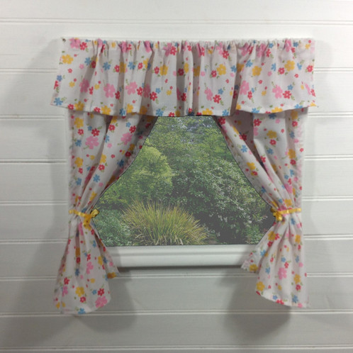 Floral Summer Playhouse Curtains With Pelmet