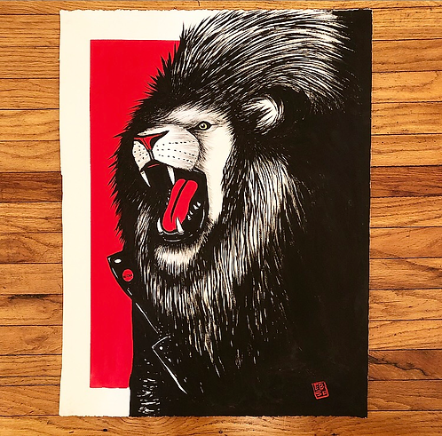 "Lion To My Face | 20x26"" Sumi & Gouache on Paper"