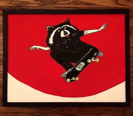 "Thrash Panda | 24x18"" framed, sumi & gouache on paper"