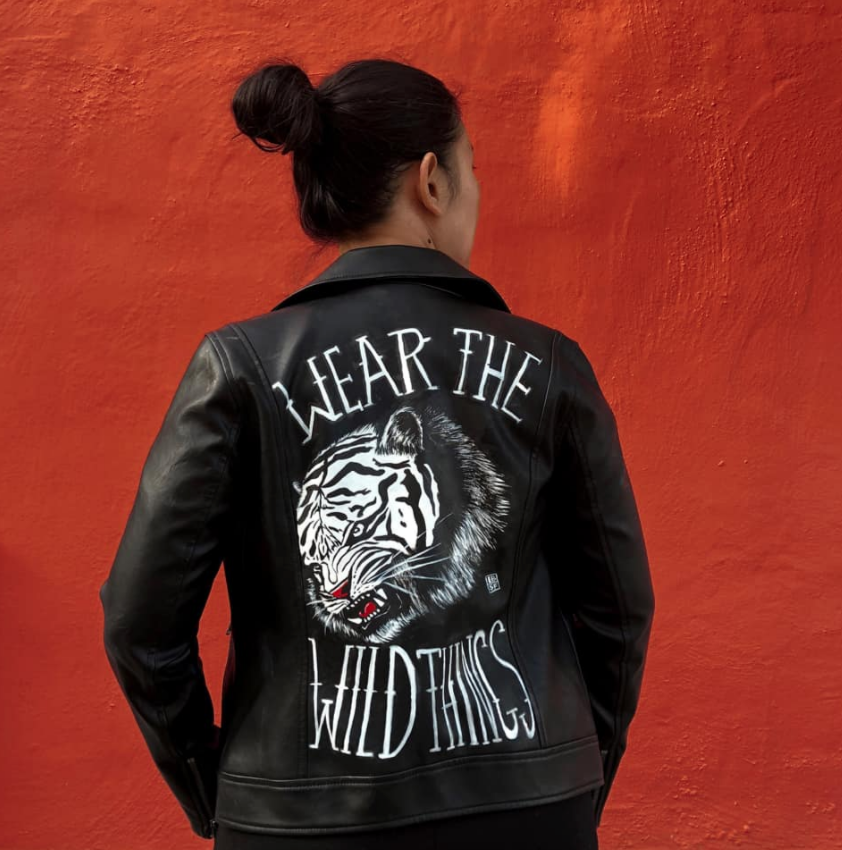 Tiger style hand painted jacket