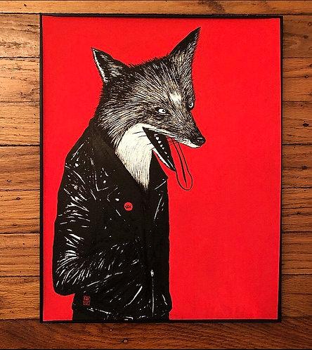 "Zero Fox | 11x15"" framed, sumi & gouache on paper"