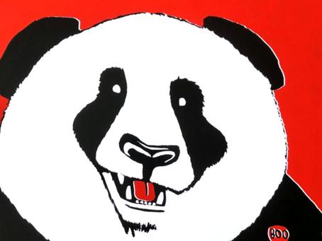 "Hand pulled panda silkscreened  11x17"" prints"