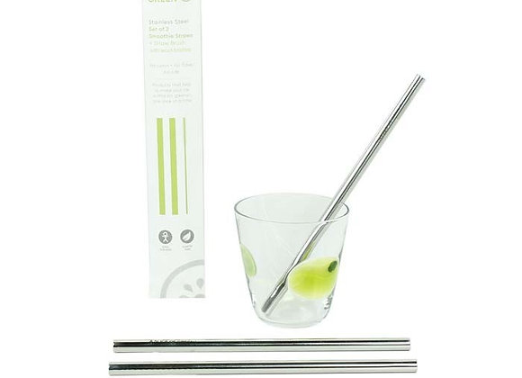 Set of Two Stainless Steel Smoothie Straws + Brush