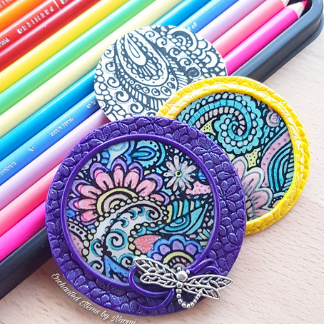 Colorful Paisley Garden Polymer Clay Trading coins