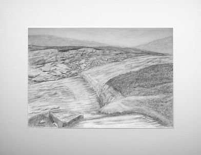 a uk countryside graphite landsdcape scene featuring a rocking river