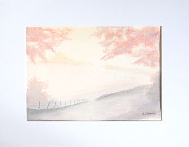 loose countryside watercolour scene with fields a fence and backlit trees