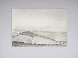 Morning View Across the Hill: a graphite pencil landscape drawing