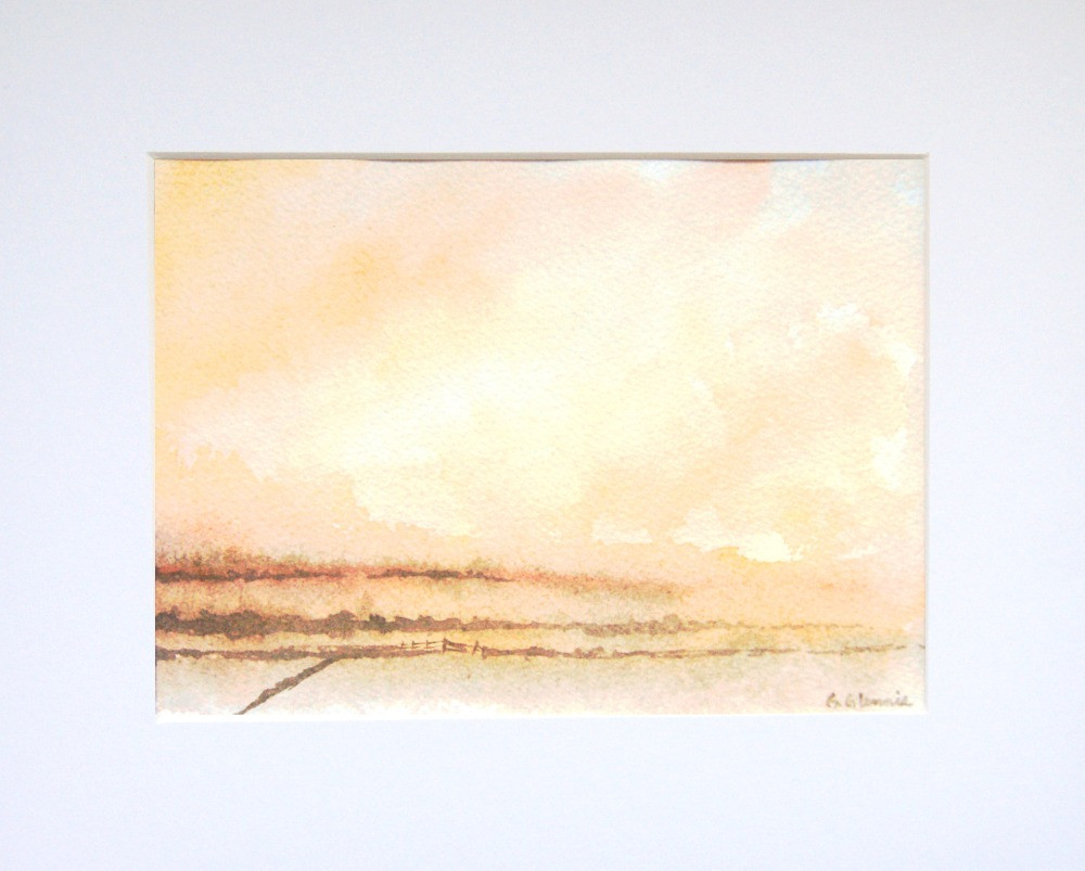 an overall umber coloured loose skyscape watercolour scene with hedgerows and distant trees