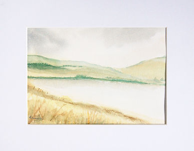 countryside watercolour scene depicting a loch and hillside autumn landscape