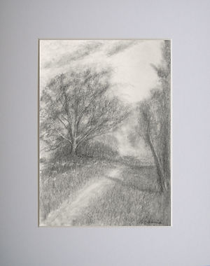 graphite landscape scene showing a tree as a focal point with meadow flowers