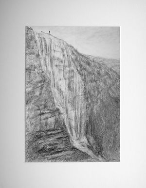 original graphite landscape scenewith a tiny figure standing above a hillside waterfall