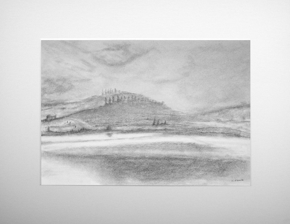 a graphite landscape scene showing a loch with three figures and background hills