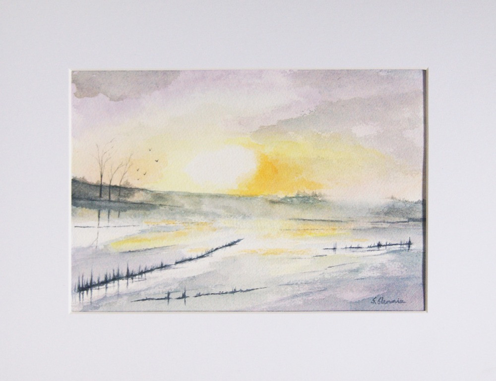 a countryside watercolour scene with icy pond and golden sunlight