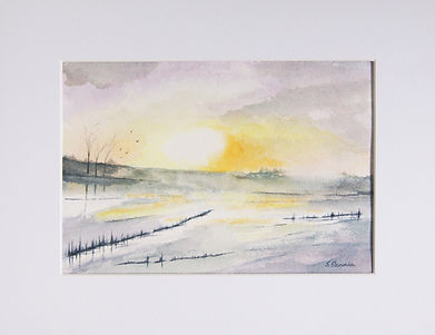 countryside watercolour scene with icy pond and morning sunlight